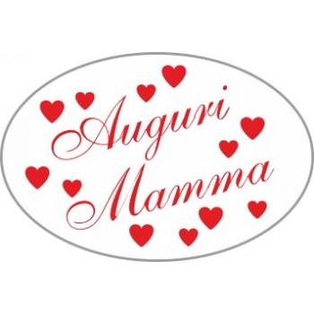 200 etichette ca. Auguri Mamma ovale, mm.30x20 - BIANCO