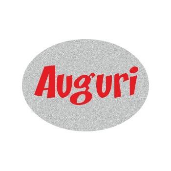 200 etichette ca. Auguri ovale, mm.22x16 - ARGENTO