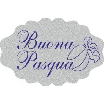 200 etichette ca. Buona Pasqua coccarda, mm.33x22 - ARGENTO