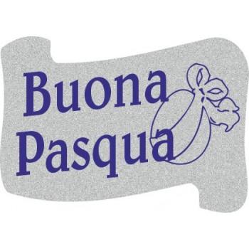 200 etichette ca. Buona Pasqua pergamena, mm.36x25 - ARGENTO