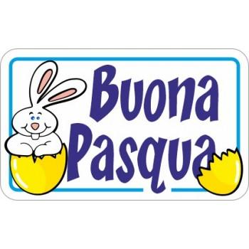 200 etichette ca. Buona Pasqua rettangolo, mm.36x22 - BIANCO