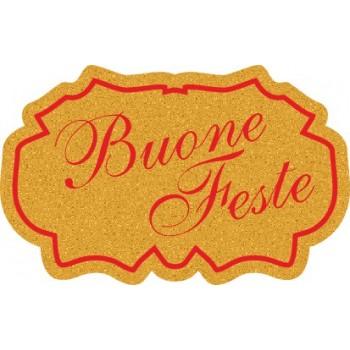 200 etichette ca. Buone Feste coccarda, mm.35x22 - ORO