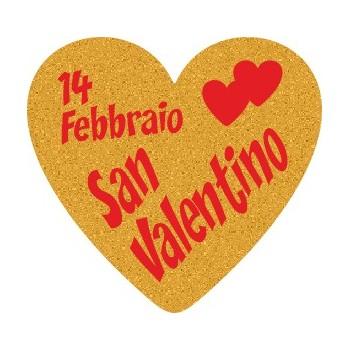 200 etichette ca. San Valentino cuore, mm.25x23 - ORO
