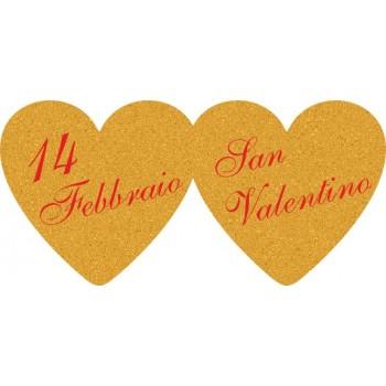 200 etichette ca. San Valentino doppio, mm.48x23 - ORO