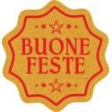 220 etichette Buone feste coccarda, mm.23x23 – ORO