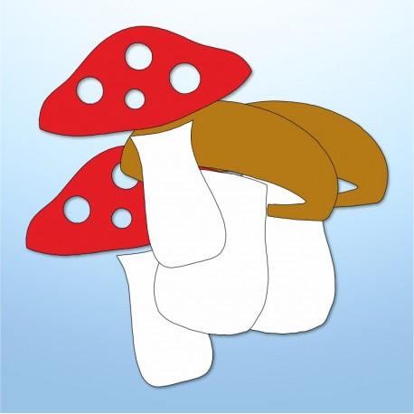 Mini adesivi funghi - 4 pezzi