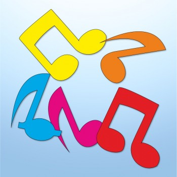 Mini adesivi note musicali - 5 pezzi
