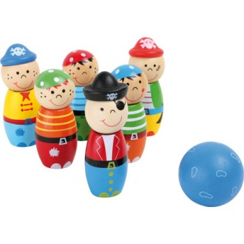 "Bowling ""Pirati"", Birillo: ca. 8 cm, Ø 3,5 cm, Palla ca. Ø 4 cm"