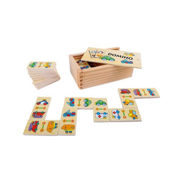 Domino «Vetture», Scatola: ca. 14 x 8 x 5 cmTessera del domino: ca. 6 x 3 x 0,5 cm