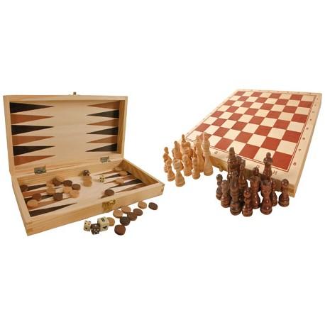 Giochi classici in scatola di legno, ca. 29 x 29 x 2 cm