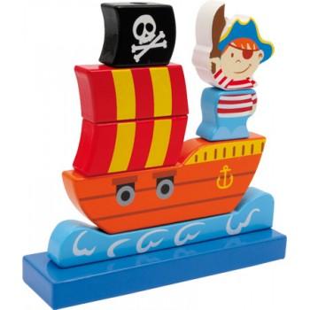 Nave Pirata ad incastro, ca. 18 x 5 x 18 cm