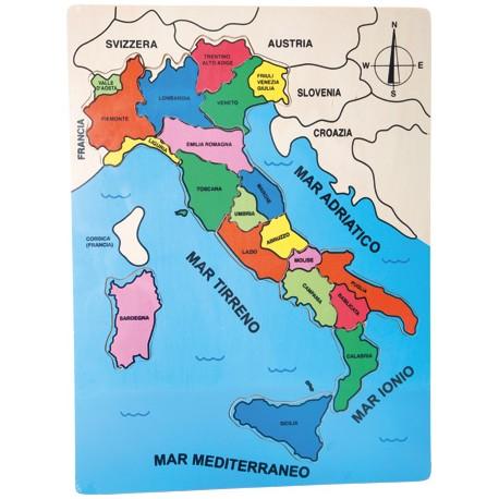Puzzle dei Paesi Italia, Puzzle: ca. 30 x 40 x 1 cm, Sicilia: ca. 8 x 6 x 0,5 cm