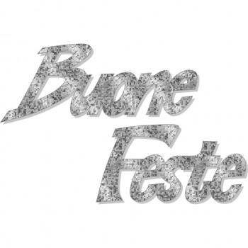 Scritta natale buone feste brillante argento