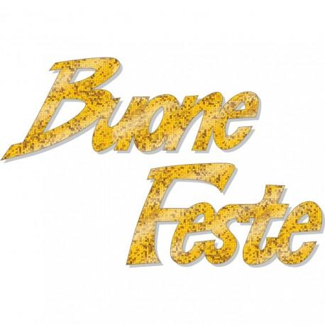 Scritta natale buone feste brillante oro
