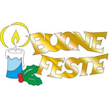 Scritta natale Buone Feste onda oro con candela e agrifoglio