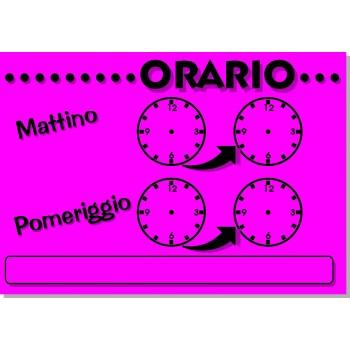 """Orario """"Orologi"""" Cm. 20X14 - 25 Cartelli - Fluo Assortiti"""