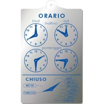 Orario In Pvc 13X20 Argento/Blu Con Ventosa
