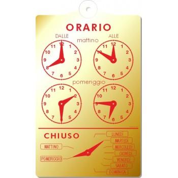 Orario In Pvc 13X20 Oro/Rosso Con Ventosa
