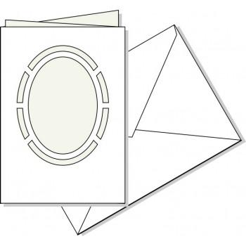 Biglietto fustellato Ovale con busta, misura cm. 17X11