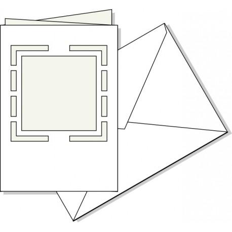 Biglietto fustellato Quadrato con busta, misura cm. 17X11