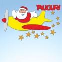 Vetrofania Babbo Natale con aereo, misura cm. 55x40