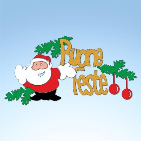 Vetrofania Babbo Natale con buone feste, misura cm. 55x30