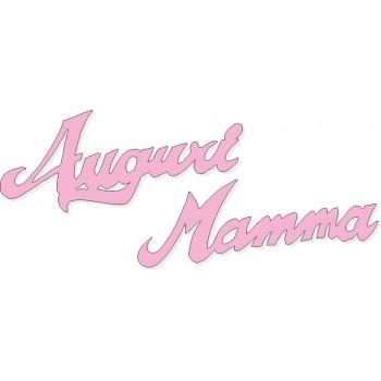 Scritta stagionale Auguri Mamma rosa, misura cm. 50x18