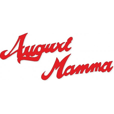 Scritta stagionale Auguri Mamma rosso, misura cm. 50x18