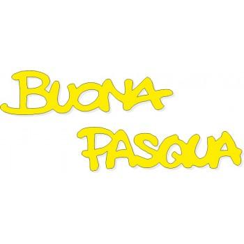 Scritta stagionale Buona Pasqua gialla, misura cm. 70x40
