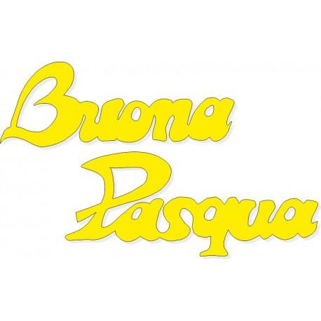Scritta stagionale Buona Pasqua rosa, misura cm. 70x40