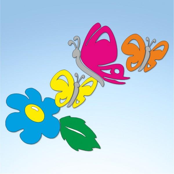 Vetrofania primavera farfalle e fiore, misura cm. 90x70
