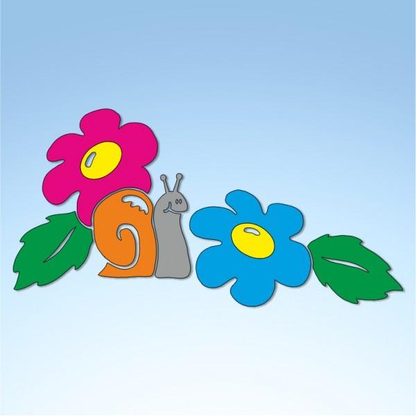 Vetrofania primavera lumaca fiori e foglie, misura cm. 80x50