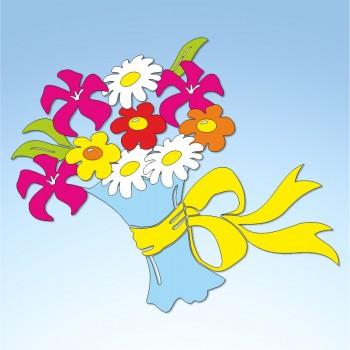 Vetrofania primavera mazzo di fiori, misura cm. 70x70
