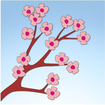 Vetrofania primavera ramo di pesco, misura cm. 55x60