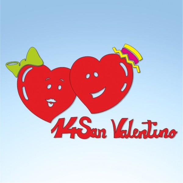 Vetrofania San Valentino cuori comic, misura cm. 80x60