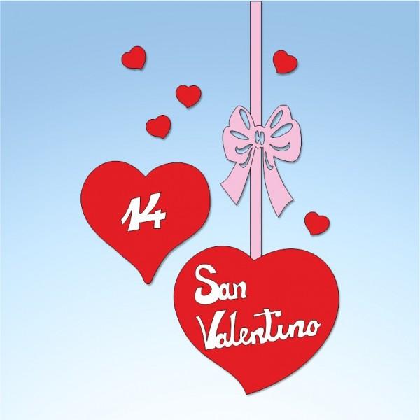 Vetrofania San Valentino cuori con fiocco, misura cm. 55x100