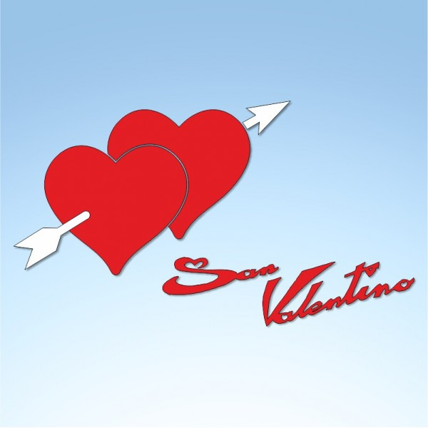 Vetrofania San Valentino cuori con freccia, misura cm. 75x40