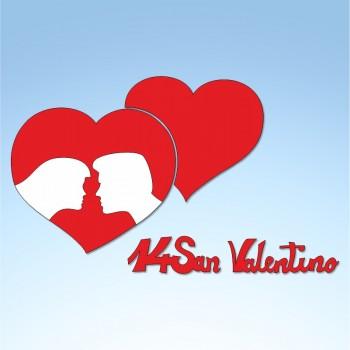 Vetrofania San Valentino cuori e innamorati, misura cm. 80x45