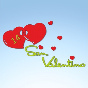 Vetrofania San Valentino cuori, misura cm. 80x50