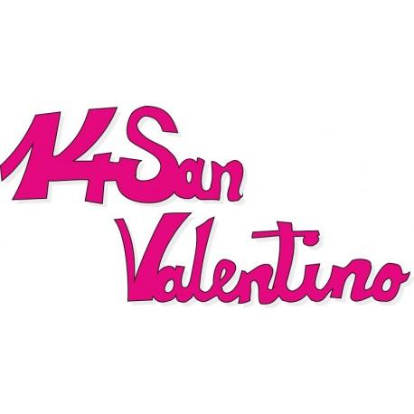 Scritta stagionale vetrofanie 14 san valentino fucsia, misura cm. 45x25