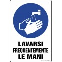 Cartello Lavarsi frequentemente le mani, misura cm. 20X30 pvc sp. 0,7 mm
