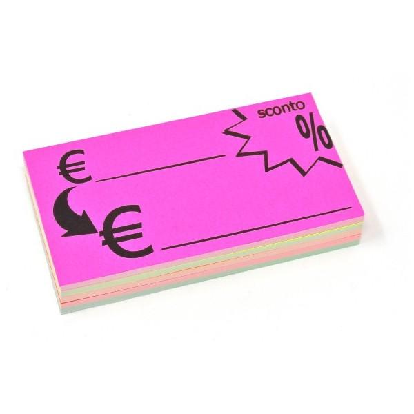 Euro Promo Stampato - 50 Segnaprezzi - Fluo Assortiti