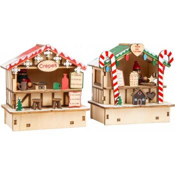 Bancarelle di Natale Crepes e dolciumi, con funzione luminosa, alimentato a batteria