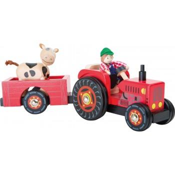 Trattore con rimorchio Fattoria, 1 contadino, 1 mucca, 1 trattore, 1 rimorchio