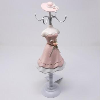 Manichino portagioie per collane ed anelli rosa, misura circa cm. 10x10x34