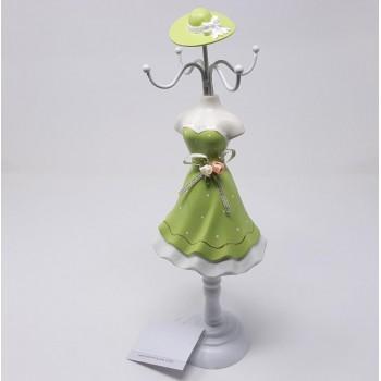 Manichino portagioie per collane ed anelli verde, misura circa cm. 10x10x34