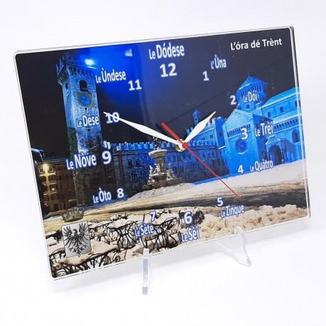 "Orologio da muro ""Ora de Trent"" Duomo notturna, in plexiglass misura cm. 32x23 sp. 8 mm"