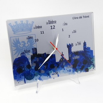 "Orologio da muro ""Ora de Trent"" fondo grigio argento, in plexiglass misura cm. 32x23 sp. 8 mm"