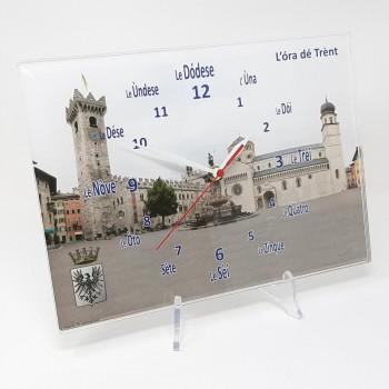 """Orologio da muro """"Ora de Trent"""" piazza Duomo, in plexiglass misura cm. 32x23 sp. 8 mm"""