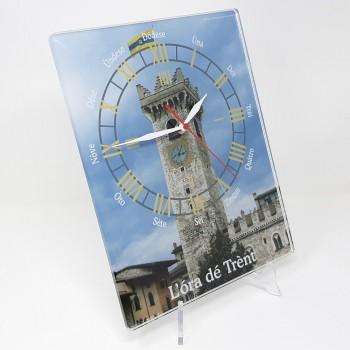 "Orologio da muro ""Ora de Trent"" Torre Civica, in plexiglass misura cm. 25x32, sp. 8 mm"
